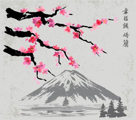 branches and Fujiyama mountain