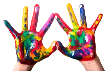 Photo for two painted colorful hands forming a heart on a white background - Royalty Free Image