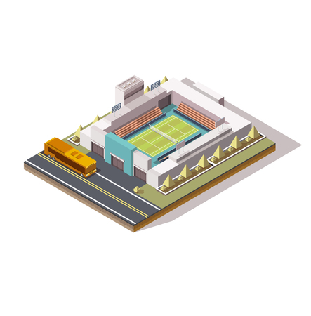 Illustrazione per isometric tennis court, low poly, bus near the building, big tournament, concept for a tennis game, 3d field, stands, graphic vector drawing, championship - Immagini Royalty Free