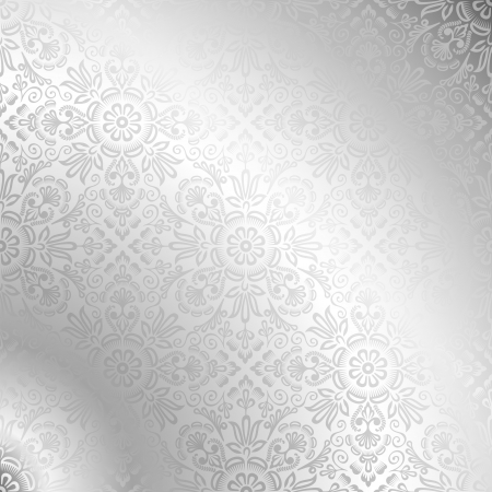 Illustration for Seamless silver damask wallpaper  - Royalty Free Image