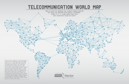 Illustration pour Abstract telecommunication world map with circles, lines and gradients - image libre de droit