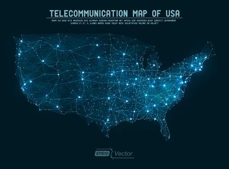 Ilustración de Abstract telecommunication network map - USA - Imagen libre de derechos