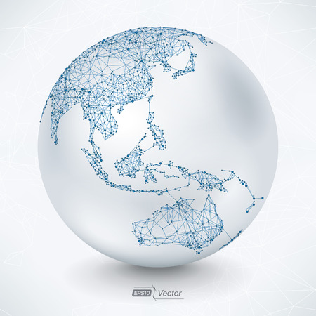 Illustration pour Abstract Telecommunication Earth Map - Asia, Indonesia, Oceania, Australia - image libre de droit