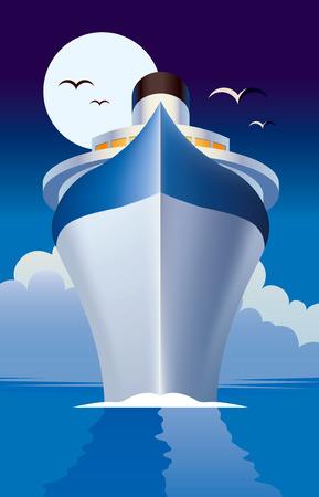 Illustration pour Cruise ship, cruise liner illustration - image libre de droit