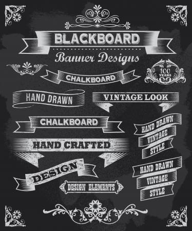 Illustration pour Chalkboard calligraphy banner and ribbon vector design   - image libre de droit