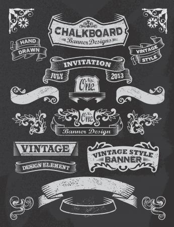 Illustration pour Chalkboard calligraphy banners  - image libre de droit