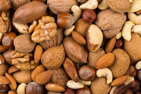 Photo for Variety of Mixed Nuts as a background - close up image - Royalty Free Image