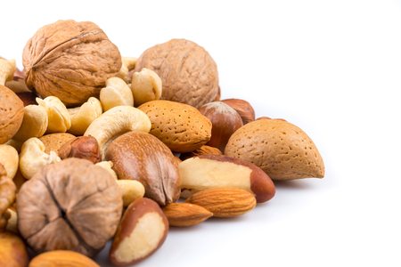 Photo for Variety of Mixed Nuts Isolated on White Background - Royalty Free Image