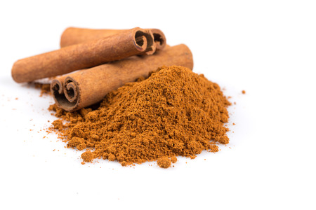 Photo for cinnamon sticks with powder isolated on white background - Royalty Free Image