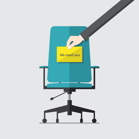 Illustration pour Business chair with hiring message in hand - image libre de droit