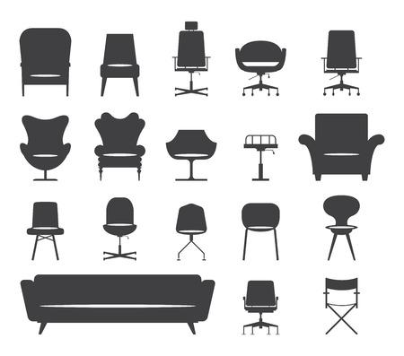 Illustration pour Icon set of silhouette modern furniture chair and sofa . Vector. Illustration - image libre de droit