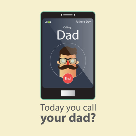 Illustration pour Today you call your dad. Father Day Card. Cartoon character. Vector Illustration. - image libre de droit