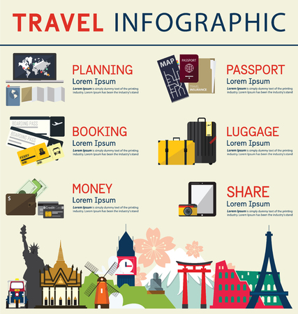Illustration pour The concept of infographics for travel business. Infographic  element. Vector Illustration - image libre de droit