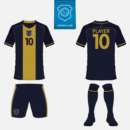 Illustration pour Set of soccer or football kit template for your football club. Front and back view. Football uniform. - image libre de droit