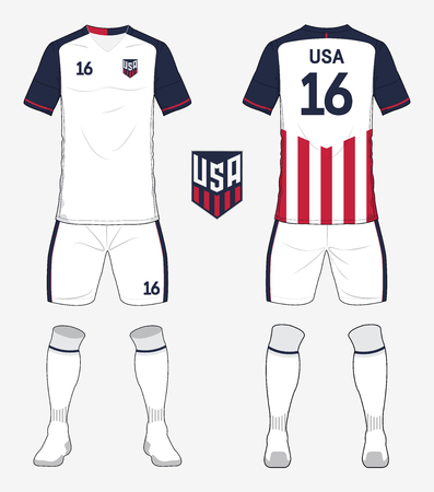 Illustration pour Set of United states of America soccer kit or football jersey template for football club. Front and back view soccer uniform. Football apparel mock up. Vector Illustration - image libre de droit