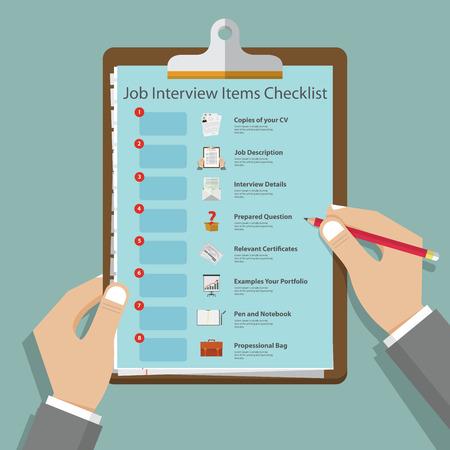 Illustration pour Essential job interview icons in flat design on clipboard. Job interview preparation infographic. - image libre de droit