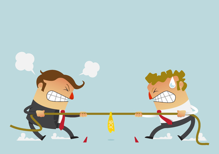 Ilustración de Businessman in career race. Two businessman fighting in the tug of war competition that could just define their careers. Cartoon character in flat design. Vector Illustration. - Imagen libre de derechos