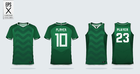 Illustration for Green zigzag pattern t-shirt sport design template for soccer jersey, football kit and tank top for basketball jersey. Sport uniform in front and back view. Sport shirt mock up for sport club. Vector Illustration. - Royalty Free Image