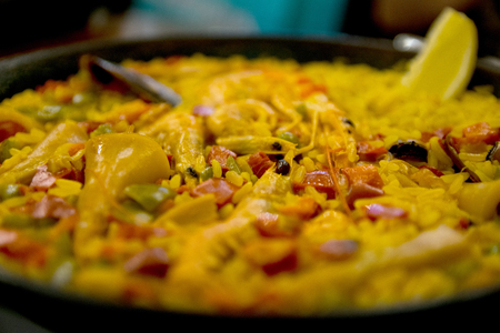 Photo for Tradition Seafood Spanish Paella in Pan, this is a typical spanish dish - Royalty Free Image