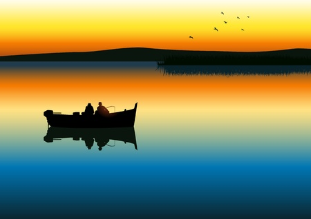 illustration of two men silhouette fishing on tranquil lake