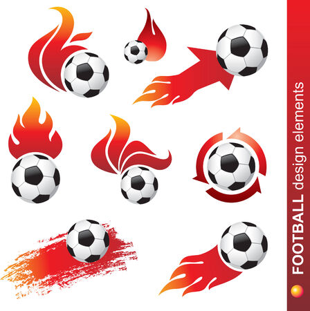 football and fire design elements