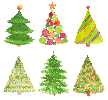 Foto de Set of watercolor hand painted Christmas tree. Texture paper. - Imagen libre de derechos
