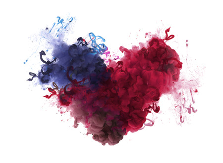 Foto de Acrylic colors in water. Ink blot. Abstract background. Isolation. Broken heart concept. - Imagen libre de derechos