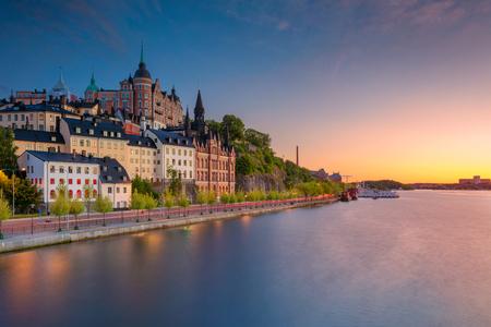 Photo pour Stockholm. Image of old town Stockholm, Sweden during sunset. - image libre de droit