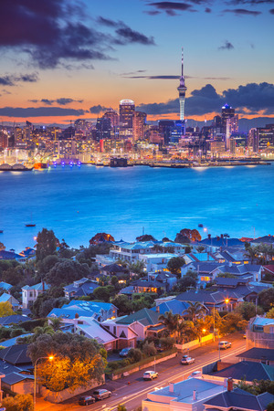 Photo for Auckland. Cityscape image of Auckland skyline, New Zealand during sunset with the Davenport in the foreground. - Royalty Free Image