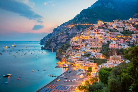 Photo for Positano. Aerial image of famous city Positano located on Amalfi Coast, Italy during sunset. - Royalty Free Image