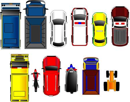 Illustration pour Thai Cars top view set - image libre de droit