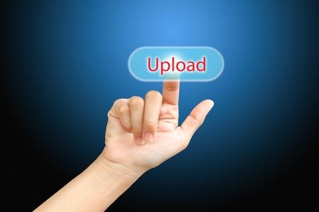 Business   press finger on  upload button