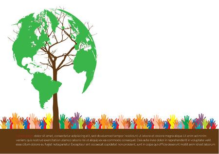 Ilustración de Hand  style save the Earth tree idea   environment concept  - Imagen libre de derechos