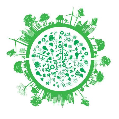Ilustración de green earth - sustainable development concept - Imagen libre de derechos
