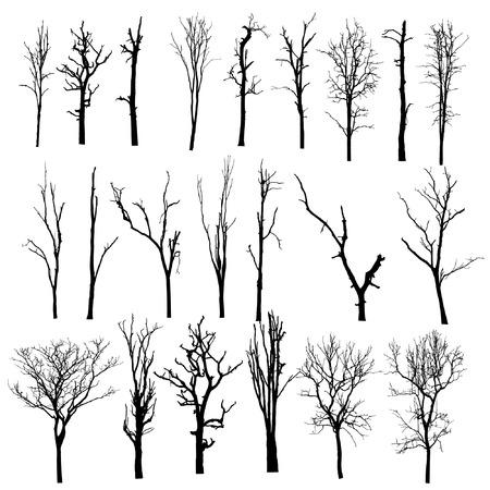 Illustration pour vector black silhouette of a bare tree - image libre de droit