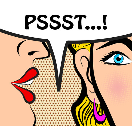 Illustration pour Pop Art style comic book panel gossip girl whispering in ear secrets with speech bubble, rumor, word-of-mouth concept vector illustration - image libre de droit