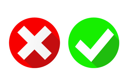 Illustration pour vector Yes and No check marks on circles, stock vector illustration - image libre de droit
