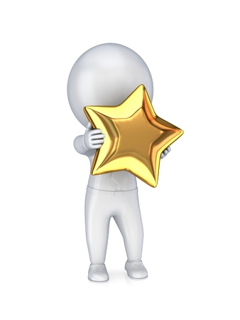 Photo pour 3d small person with a golden star in a hands.Isolated on white background. - image libre de droit