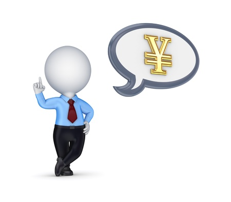 3d small person and yen symbol