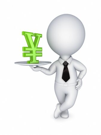 3d small person with yen symbol