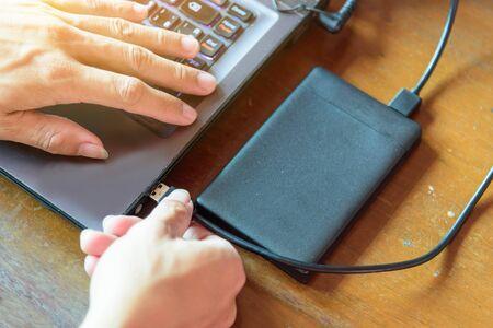 Photo pour connect harddisk of notebook with External Box 2.5 SATA - image libre de droit