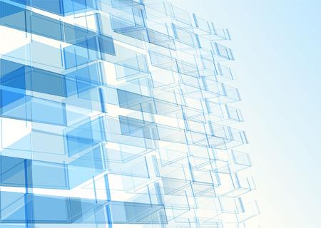 Illustration pour Modern blue glass wall of office building. Vector - image libre de droit