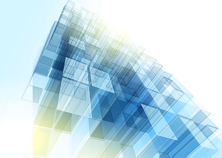 Foto de Modern blue glass wall of office building. Vector - Imagen libre de derechos