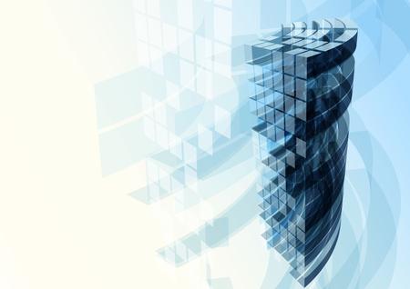 Photo pour Modern blue glass wall of office building. Vector - image libre de droit