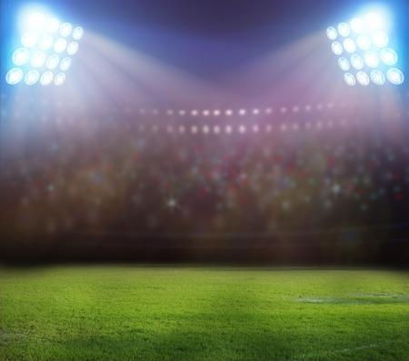 Photo pour stadium lights at night and stadium - image libre de droit