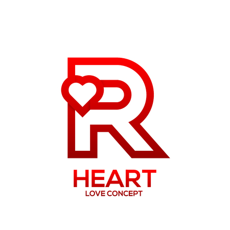 Illustration for Letter R heart Red color logo,Valentine Day Love Concept Logotype - Royalty Free Image