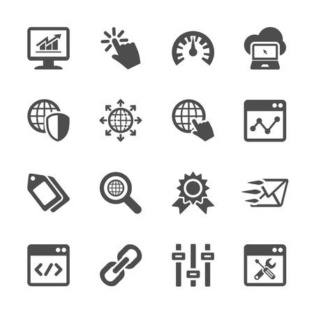 Ilustración de network and search engine optimization icon set, vector eps10. - Imagen libre de derechos