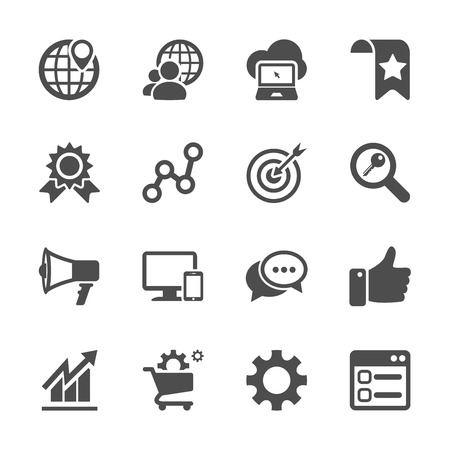 Ilustración de seo and internet marketing icon set, vector eps10. - Imagen libre de derechos