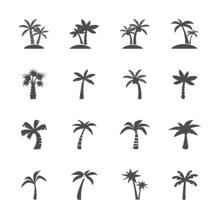 Illustration for coconut tree icon set, vector eps10. - Royalty Free Image