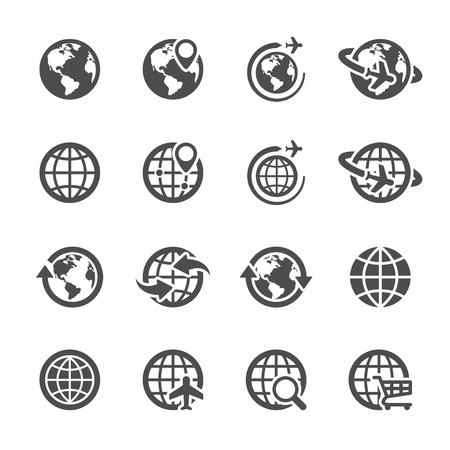 Illustration pour global communication icon set - image libre de droit